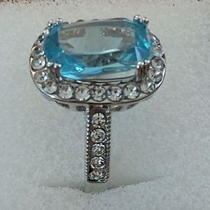 Jewelry - LARGE BLUE TOPAZ ~925 STAMPED STERLING SILVER